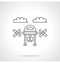 Drone with camera line icon vector