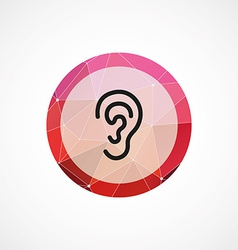 Ear circle pink triangle background icon vector