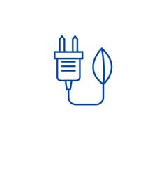 eco plug renewable energy line icon concept eco vector image
