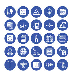 electricity engineering flat glyph icons vector image
