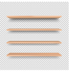 emply wooden shelf isolated transparent background vector image