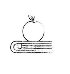 Figure apple fruit over close book vector