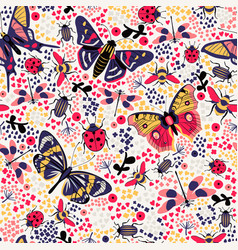 Flower butterfly and bug seamless pattern vector