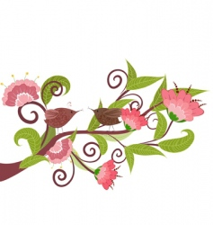 flower with birds vector image