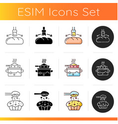 Food cooking instruction icons set vector