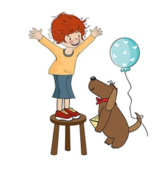 Funny boy celebrates his birthday with dog vector