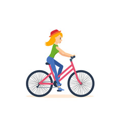 Girl traveling by bicycle is engaged activities vector