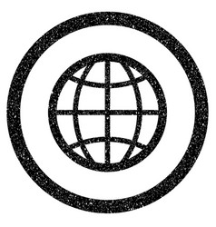 globe rounded icon rubber stamp vector image