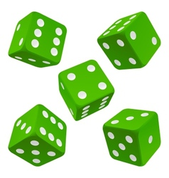 Green dice set icon vector