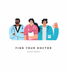 group female and male doctors on white vector image