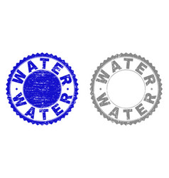 grunge water textured stamps vector image