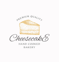 Hand-cooked bakery cheesecake abstract sign vector