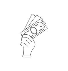Hand holding dollar banknotes icon outline style vector image
