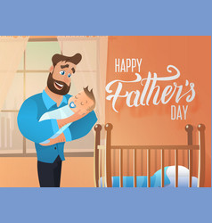 happy fathers day holiday cartoon concept vector image