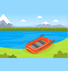 Inflatable boat on bank river or lake vector