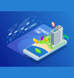 Isometric online booking hotel reservation travel vector