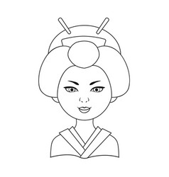 Japanesehuman race single icon in outline style vector