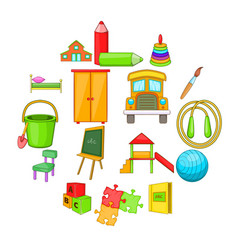 kindergarten security icons set cartoon style vector image