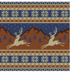 knitted wool tapestry with deer vector image