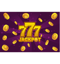 logo jackpot and golden 777 icon explosion gold vector image