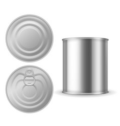 metal tin can canned foods mockup aluminium vector image