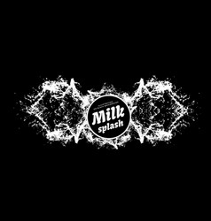 Milk splash on black background milk spray vector