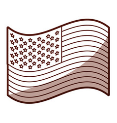 monochrome silhouette of waving flag of the united vector image