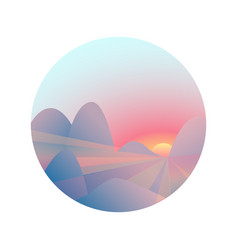 Mountain landscape with sunrise sunset gradient vector