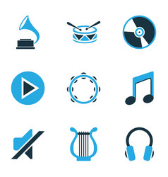 Multimedia colored icons set collection of note vector