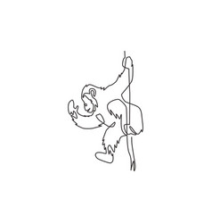 One continuous line drawing cute chimpanzee vector