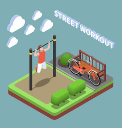Outdoor exercises isometric composition vector