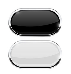 Oval buttons black and white web icons with vector