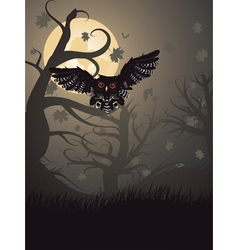 Owl in the Night Forest vector