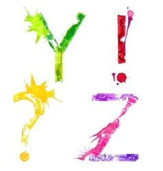 paint splash font YZ and punctuation marks vector image