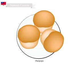 Panipopo or Delicious Samoan Sweet Coconut Buns vector