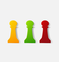 Paper clipped sticker chess piece pawn vector