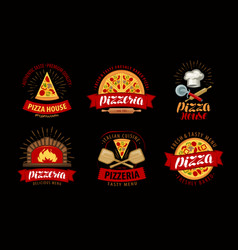 pizza pizzeria logo or label elements for menu vector image