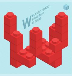 Plastic blocs letter w vector
