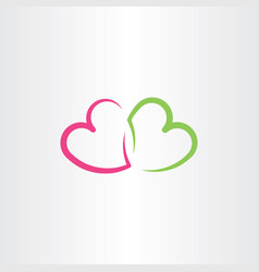 red and green heart love symbol vector image