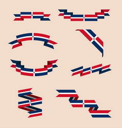 Ribbons or banners in colors of dominican flag vector