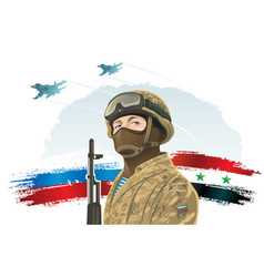 russian special forces soldier and kalashnikov on vector image