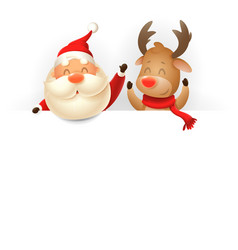 Santa claus and reindeer on billboard vector