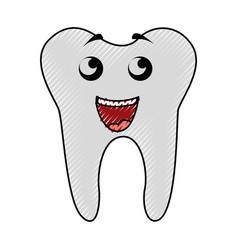 scribble tooth cartoon vector image
