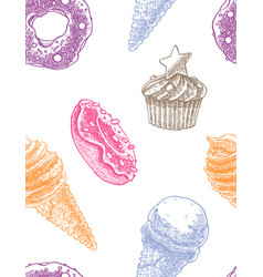 Seamless decorative pattern with ice cream cones vector