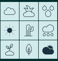 set of 9 harmony icons includes sun rain bush vector image