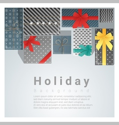 Set of gift boxes background on top view 1 vector image