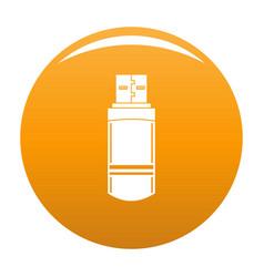 small flash drive icon orange vector image
