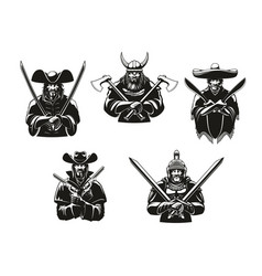 Soldiers or warriors man ammunition icons vector