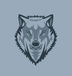 Straight looking white wolf tattoo style vector