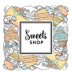 sweets shop square banner with sweet baked vector image